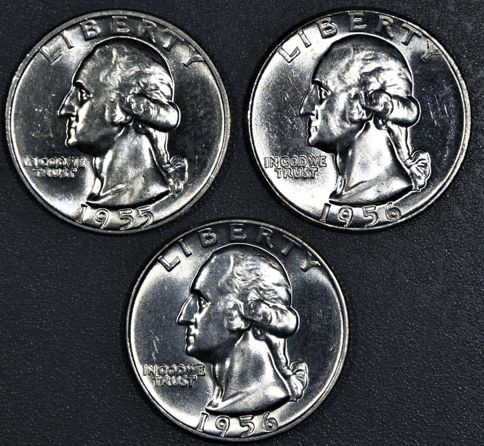 3 25c WASHINGTON SILVER QUARTERS, 1955-D, 1956, 1956-D, GRADES CHOICE BU, 2873 - $22.50