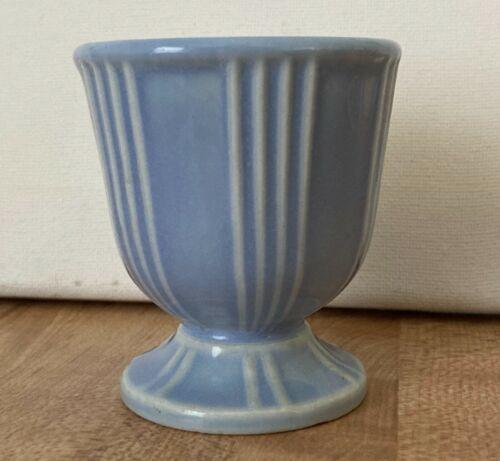 Vintage Hankscraft Ribbed Baby Blue Periwinkle Egg Cup Mid Century Modern