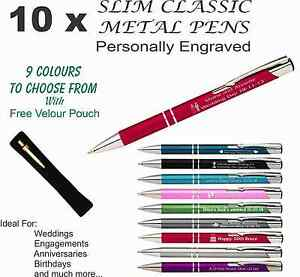 10x Personalised Custom Metal Pen Engraved. Wedding Bomboniere, Favours & Gifts