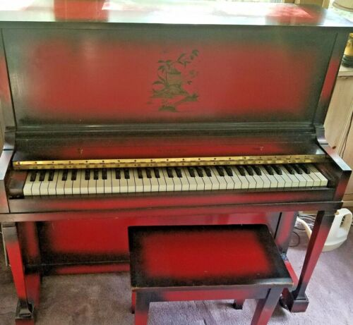 Vintage WINTER NEW YORK 66 Key Piano! Red & Black Asian Design & Original Bench