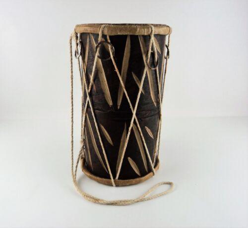 Vintage African Rattle Drum Tribal Instrument Animal Skin Carved Wood