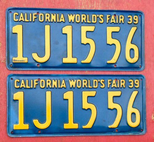 1939 California Nice Original PAIR WORLDS FAIR 1J 15 56 License Plates