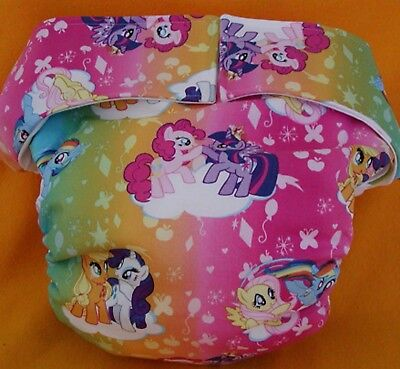 Adult New AIO Reusable Super Absorbent Cloth Diaper S,M,L,XL My Lil Pony Rainbow - My Lil Pony Costume