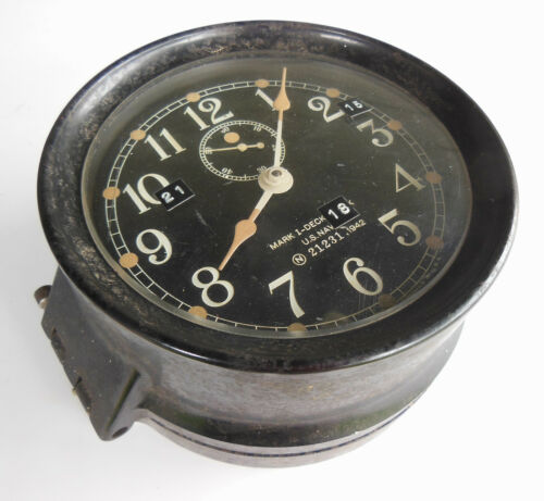 "SETH THOMAS US NAVY MARK 1 DECK CLOCK BULKHEAD MNT #21231, 6.75"" FACE, WWII 1942"