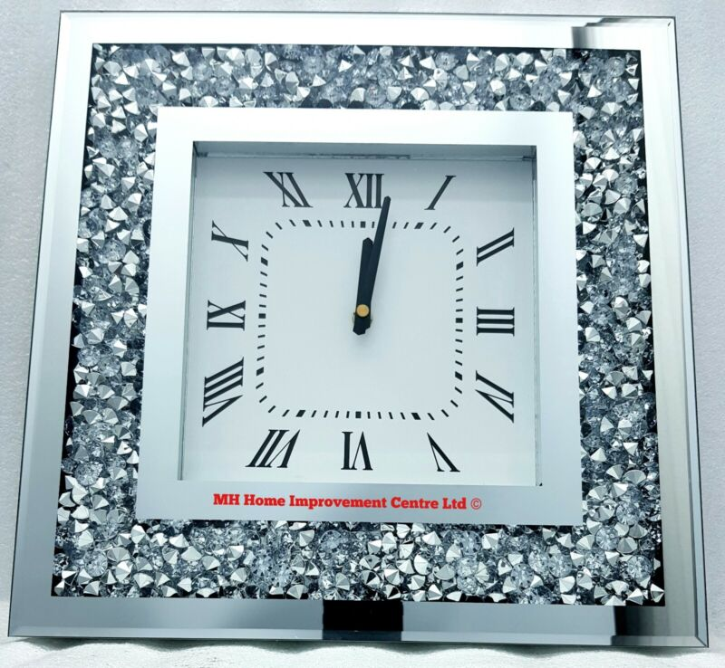 Sparkly Square Wall Clock Diamond Crush Crystal Silver Mirrored Glitz Bling