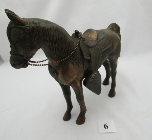 Vintage Cast Metal Copper Bronze Horse Stallion Pony Filly Saddle Figurine #6