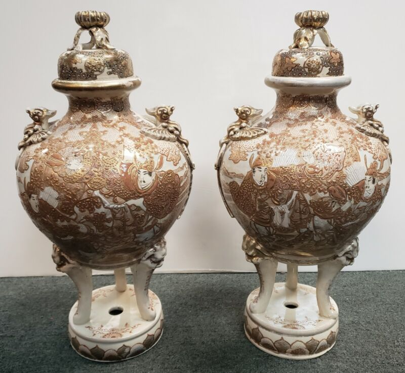 Pair of Late 19th Century Japanese Satsuma Porcelain Gilded Temple Koro Censers
