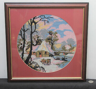 Framed Sampler Cross Stitch Circular Picture : Winter Cottage Snow