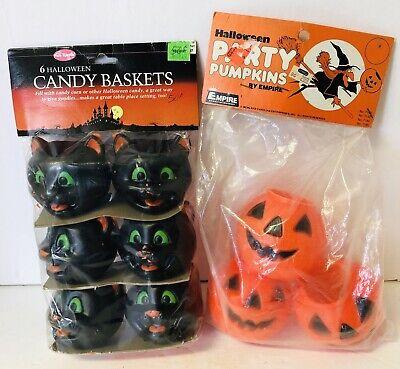 Vtg HALLOWEEN EMPIRE Blow Mold JACK O LANTERN PARTY PUMPKINS Fun World Black Cat