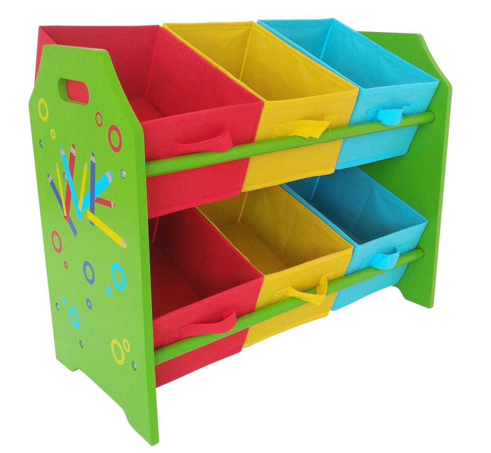 Kids Childrens Pencil Crayon 2 Tier Toy Wooden Storage Unit 6 Cube Bins Baskets