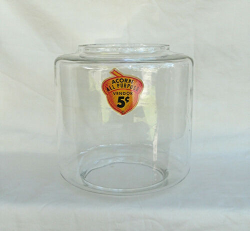 Oak Acorn Gumball Vending Machine 11 pound  glass globe with 5 cent decal