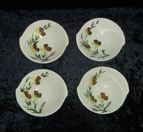 """4 VTG Sunny Spray Blue Ridge Lugged Cereal Bowls Southern Potteries 7"""" MCM"""