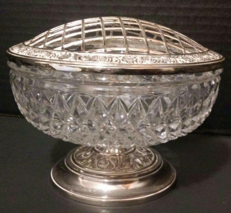 Vintage Mayell Crystal Glass Flower Frog Pedestal Silverplate Zinc England LOOK!