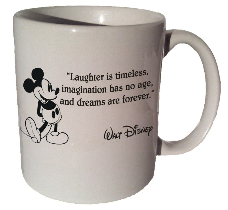 "Mickey Mouse ""Laughter is timeless"" quote 11oz coffee tea mug"