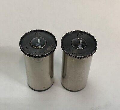 Pair Of Vintage Leitz 6x Microscope Eyepieces 23mm