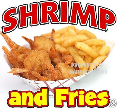 Shrimp And Fries Decal 14 Seafood Sandwich Concession Food Truck Vinyl Cater