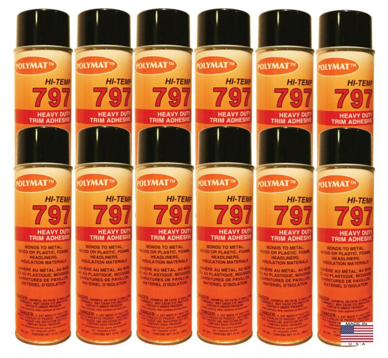 QTY12 Polymat 797 Hi-Temp Professional Automotive Spray Glue 20oz W/13oz NET/can