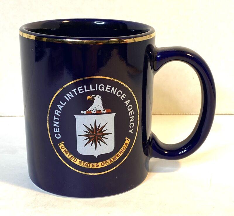 Vintage CIA Central Intelligence Agency Logo Seal Coffee Mug, Gold Rim