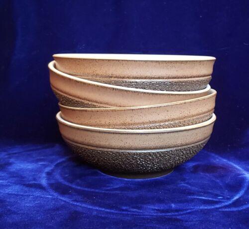 "Cotswold Denby-Langley Textured Brown Finish 4 Fruit/Dessert Bowls 5 3/4"""