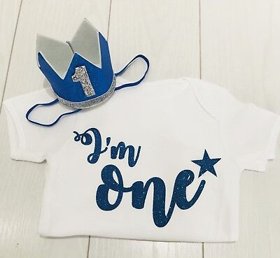 Baby Boys First 1st Birthday Cake Smash Outfit Set T-Shirt Top Vest & Hat Blue - First Birthday Boys