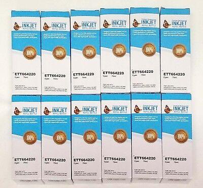 x12 Inkjet T664220 Cyan 70ml Ink Refill Bottle Epson L120 L210 L300 L350 L355... - 12 Cyan Inkjet