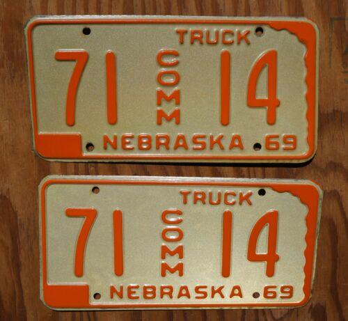 1969 Nebraska Truck License Plate PAIR / SET - High Quality