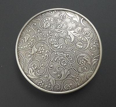 VTG Solid 925 Sterling Silver Mirrored Powder Compact Antique Art Nouveau Floral
