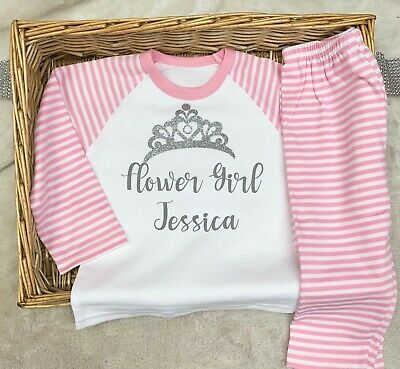 Flower Girl Pajamas Wedding (Flower Girl Pyjamas Personalised Any Name)