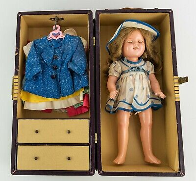 """1930s Shirley Temple 15.5"""" Doll with Case & Outfits"""