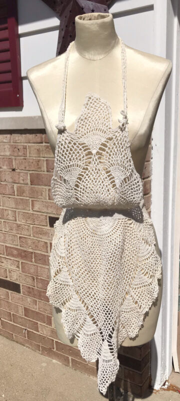 Vintage Crocheted Full Apron Pineapple Pattern Sweet Small Ivory Unique
