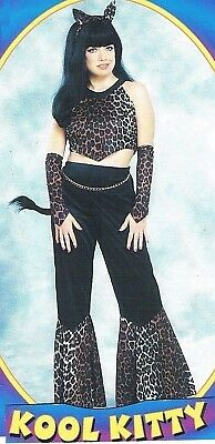 Kool Kitty Cat Costume Black Leopard Tiger Gold Chain Sexy Crop Top Flared Pants Kitty Cat Pant