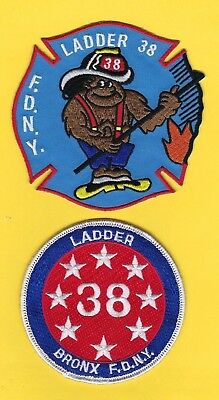 NEW YORK CITY FIRE DEPT LADDER 38 COMPANY PATCH SET ~ BRONX ~ VERY HARD-TO-FIND