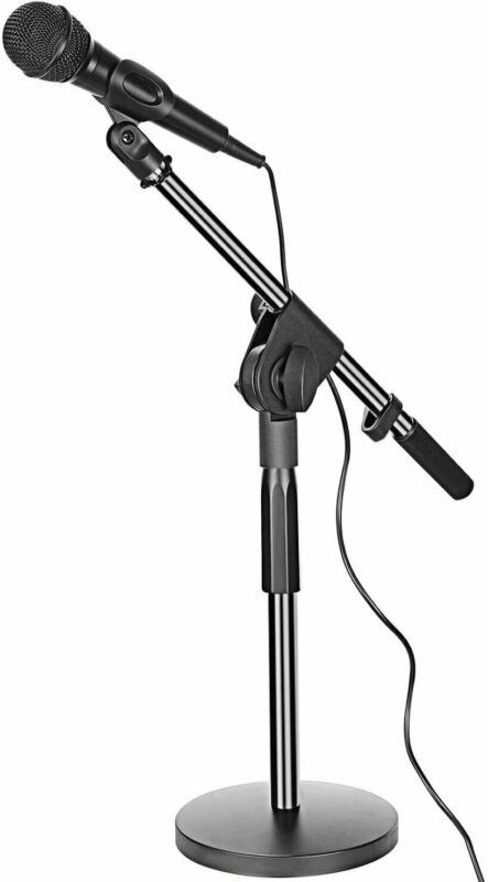 Small Adjustable Table Boom Microphone Stand Round Base & Universal Mic Clip