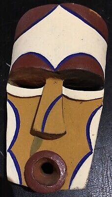 Mask Reduced Terracotta Africa Ethnic Cameroon Bamileke Pigment Natural