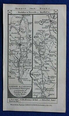 Original antique road map STAFFORDSHIRE, CHESHIRE, LANCASHIRE, Paterson 1785