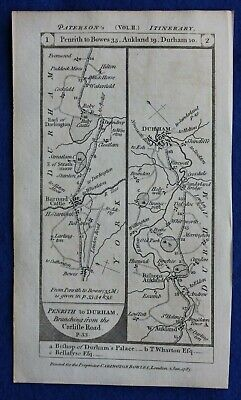 Original antique road map YORKSHIRE, BARNARD CASTLE, DURHAM, Paterson, 1785