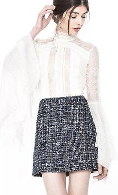 Alice + Olivia Ivy Handkerchief Sleeve Top Lace White Size 0 NWOT