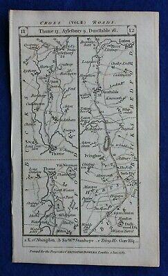 Original antique road map THAME, DUNSTABLE, BALDOCK, CAMBRIDGE, Paterson, 1785