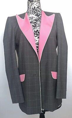 Hebe Studio Women Blazer Size 44 NIB Grey Plaid 100%Wool 100% Silk The Hebe Suit