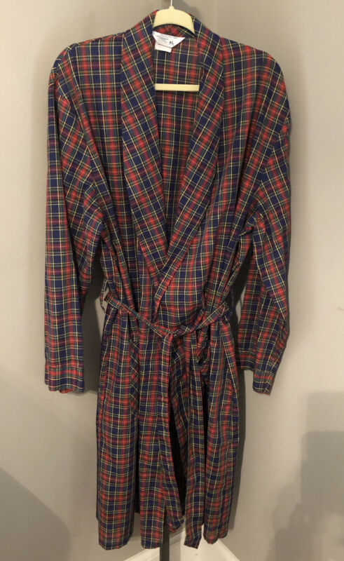 Vintage JC Penney Smoking Jacket Bathrobe Plaid Navy Red Green Pockets 46-48 XL