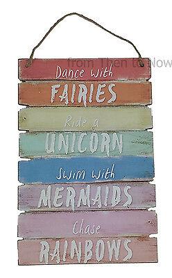 Dance With Fairies Ride A Unicorn Swim With Mermaids Rainbow Bedroom Plaque Sign