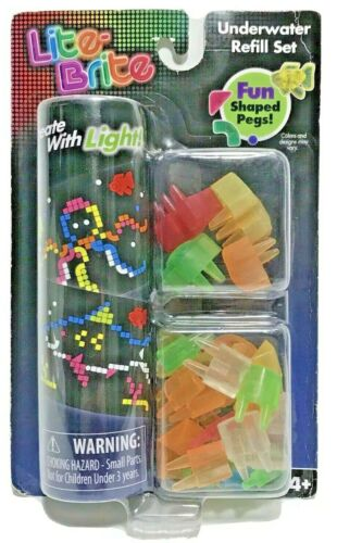 LITE-BRITE - Underwater Refill Set - Over 50 Pegs & 8 Reusable Templates -SEALED