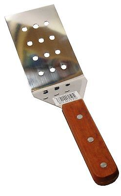 "12"" Wood Handle Perforated Stainless Steel Riveted BBQ Grilling Spatula Turner"