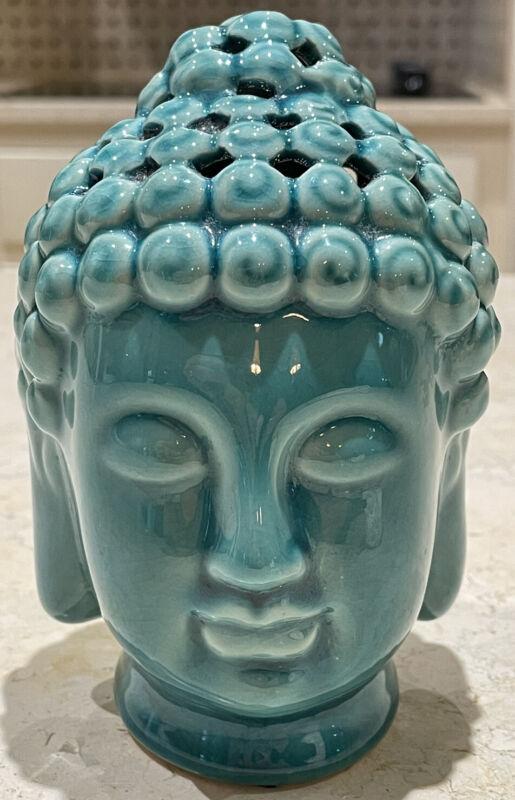 Buddha Bust Head Decorative Item Ceramic Turquoise