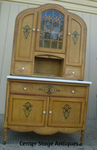 00001 Art Deco Oak Hoosier Cabinet Kitchen Work Cabinet