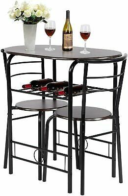 3-Piece Round Table and Chair Set for Kitchen Dining Room Bar Breakfast Dining Sets