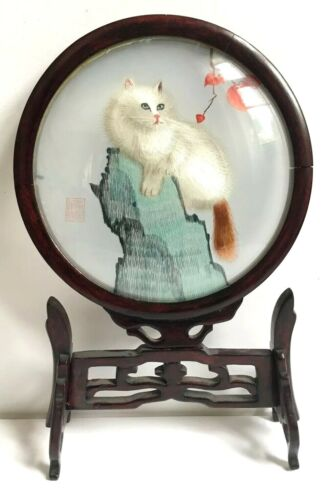 Chinese Asian Embroidered Silk Floral Cat Framed On Stand