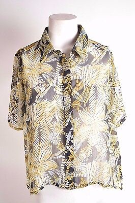 2016 NWT WOMEN VOLCOM LAYING LOW TOP $45 S black tropical short sleeve button - Tropical Lay