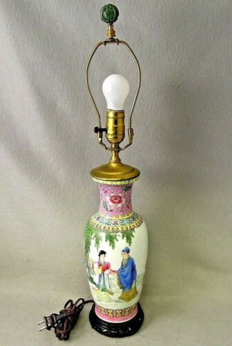 Chinese Famille Lamp  Rose Poetry Vase