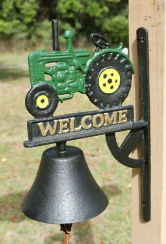 Farmhouse Dinner Bell, Green Tractor, Loud Clanking Sound, Cast Iron H-138